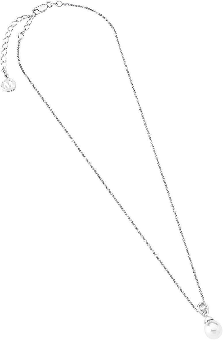 Majorica - Colgante con Cadena de 48 cm de Largo, Pera 10x12 mm Blanco Perla y circonita