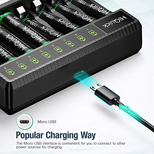 HiQuick 8 x AA Rechargeable Batteries with AA AAA Battery Charger, 8-Bay LED Battery Charger with 8 Counts AA 2800mAh Rechargeable Batteries, Rechargeable Batteries and Battery Charger Combo