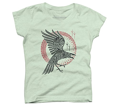 Design By Humans RAGNAR'S Raven Girl's Small Mint Youth Graphic T Shirt Ravens Mint