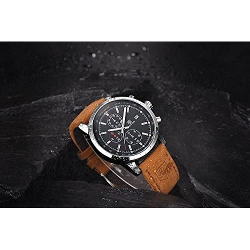 Watches Men's Fashion Business Quartz Watch with Brown Leather Strap Chronograph Waterproof Date Display Analog Sport Wrist Watches