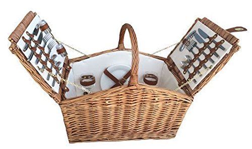 4 Person Light Steamed Slope-Sided Fitted Picnic Basket by Red Hamper