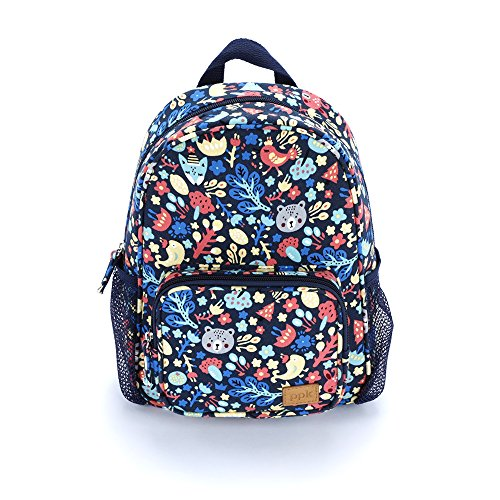 Girls Mini Backpack - Forest Animals Print (Multi-Navy)