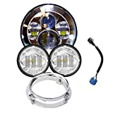 "Wisamic 7"" LED Projection Daymaker Headlight + 2pcs 4-1/2"" Fog Lights Passing Lamps with Adapter Ring for Harley Davidson Motorcycle (Silver+Ring)"