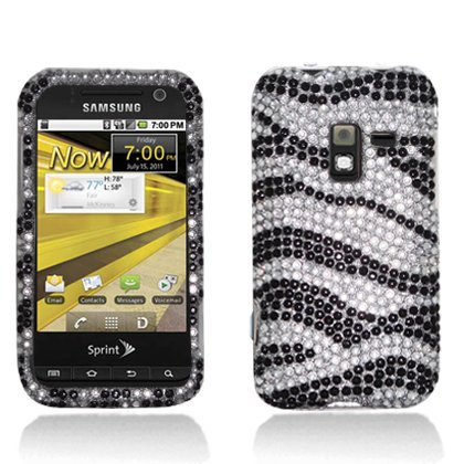 For Samsung D600 Conquer 4g Accessory - Zebra Bling Design Hard Case Proctor Cover + Lf Stylus Pen