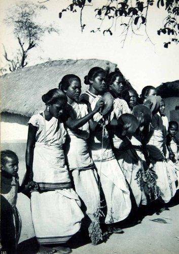 [1955 Rotogravure Santali Women Spring Dance Tribe Costume Dress India Cymbals - Original] (Community Costumes Dance Type)