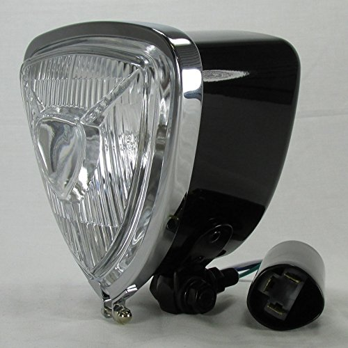 (ARIS Style Black Triangle Motorcycle Headlight with Bottom Mount Bracket - 12V High Low Beam H6 35/35W Bulb - Old School Bobber Chopper Cafe Racer Harley Brat)