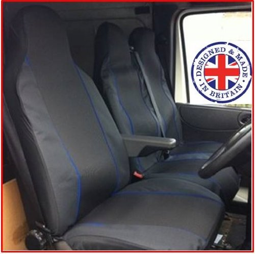 Ford Transit Tipper Truck Van Seat Covers Single Drivers And Double Passengers Seat Covers Black And Blue Piping K2AUTOPARTS