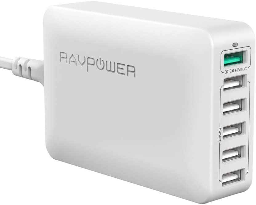 USB Quick Charger RAVPower 60W 6-Port QC 3.0 Fast Charger Desktop Charging Station, Compatible Galaxy S8 S7 S6 Edge Note and iSmart Compatible iPhone 11 Pro Max XS Max XR X 8 7 Plus, iPad and More