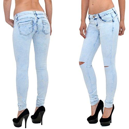 skinny J273 Look jean J273 femme pantalon femme bleached dchir Jeans Jean en genou dlav 7g5wqg6