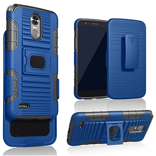 LG Stylo 3 Case, LG Stylo 3 Plus Case?with [Tempered Glass Screen Protector], Tough Protective Shock Absorbing Phone Cover with Built-in Ring Holder Kickstand and Metal Plate for Car Holder-Blue