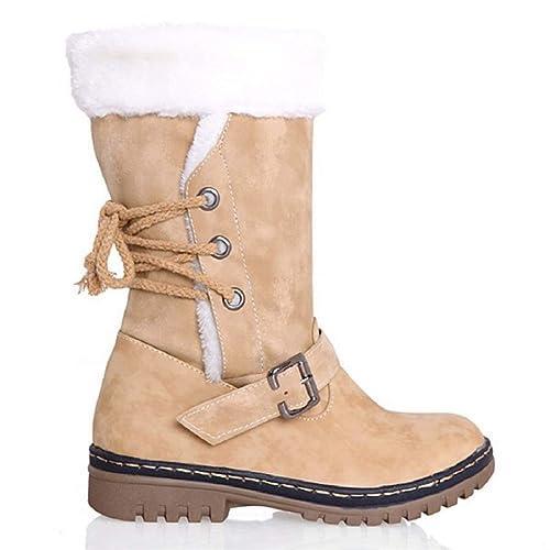 f1b47efaa Zapatos Invierno Mujer Botas de Nieve Calzado Caño Calentar Planas Casual  Outdoor Aire Libre y Deportes Sneakers Negro Marrón Beige 34-43  Amazon.es   ...