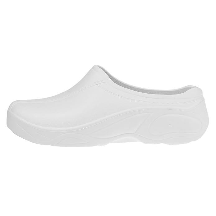 MagiDeal Zapatos de Enfermería Médico de Cocinero de Mujeres Hombres para Trabajar Plástico Sin Agujero Blanco/Negro - Negro, 40