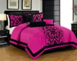 7pc Luxury Faux Silk Flocking Damask Print Comforter Set with Shams and cushions - Pink/Black, Queen/King (Queen)