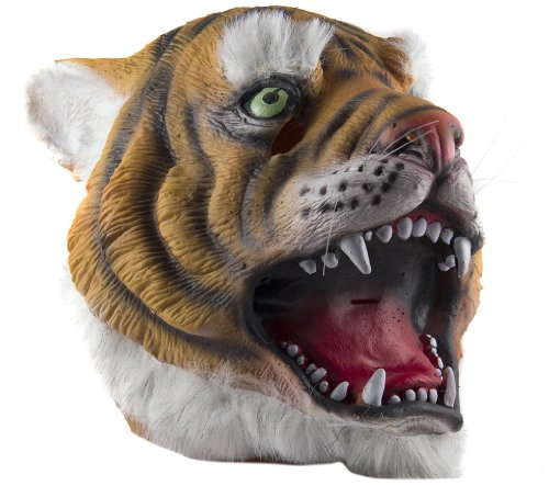 [HMS Tiger Mask with Faux Fur Trim, Brown, One Size] (Adult Tiger Mask)