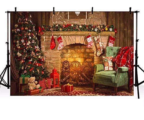 Vinilo fotografía Fondo de Navidad árbol Chimenea Regalo Juguete Interior niños Fondos para Estudio de Fotos ZR-206