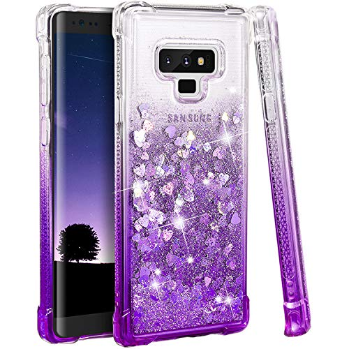 Ruky Galaxy Note 9 Case, Galaxy Note 9 Glitter Case, Gradient Quicksand Series Reinforced Corners TPU Bumper Cushion Protective Shockproof Bling Heart Liquid Case for Galaxy Note 9, Gradient Purple