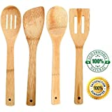 Foodie Original Bamboo Utensil Set: 4 Piece Handcrafted Eco-Friendly kitchen tools; Includes Spoon, Spatula, Spotted Spoon, and Spotted Spatula