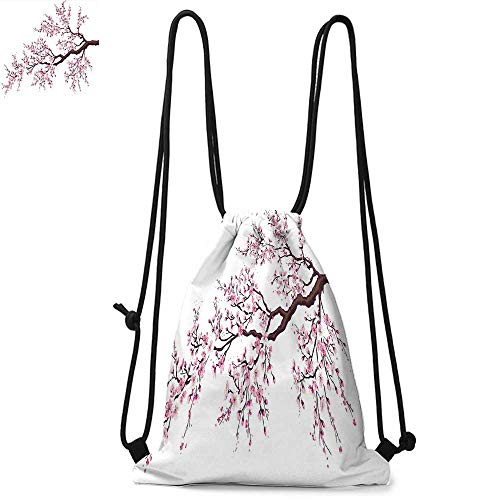 - Japanese Drawstring backpack series Branch of a Flourishing Sakura Tree Flowers Cherry Blossoms Spring Theme Art Convenient choice for daily activities W17.3 x L13.4 Inch Pink Dark Brown