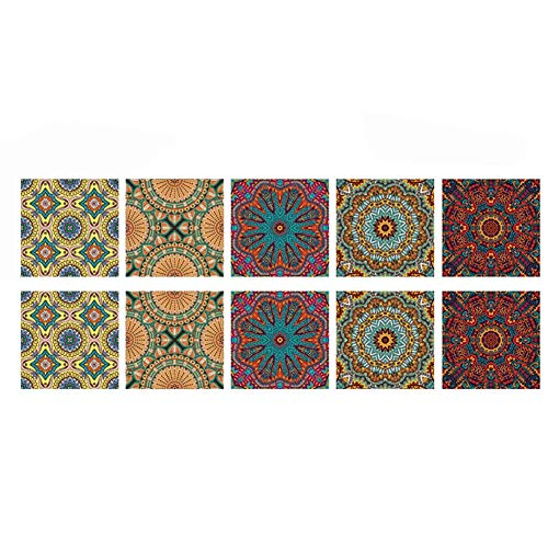 CONIE Boho Style Wall Tile Sticker for Kitchen Home Decor 6X6 Inch Self-Adhesive Peel & Stick 10Pcs