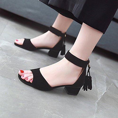 Mee Shoes Damen Chunky Heels Reißverschluss Quasten Sandalen Schwarz