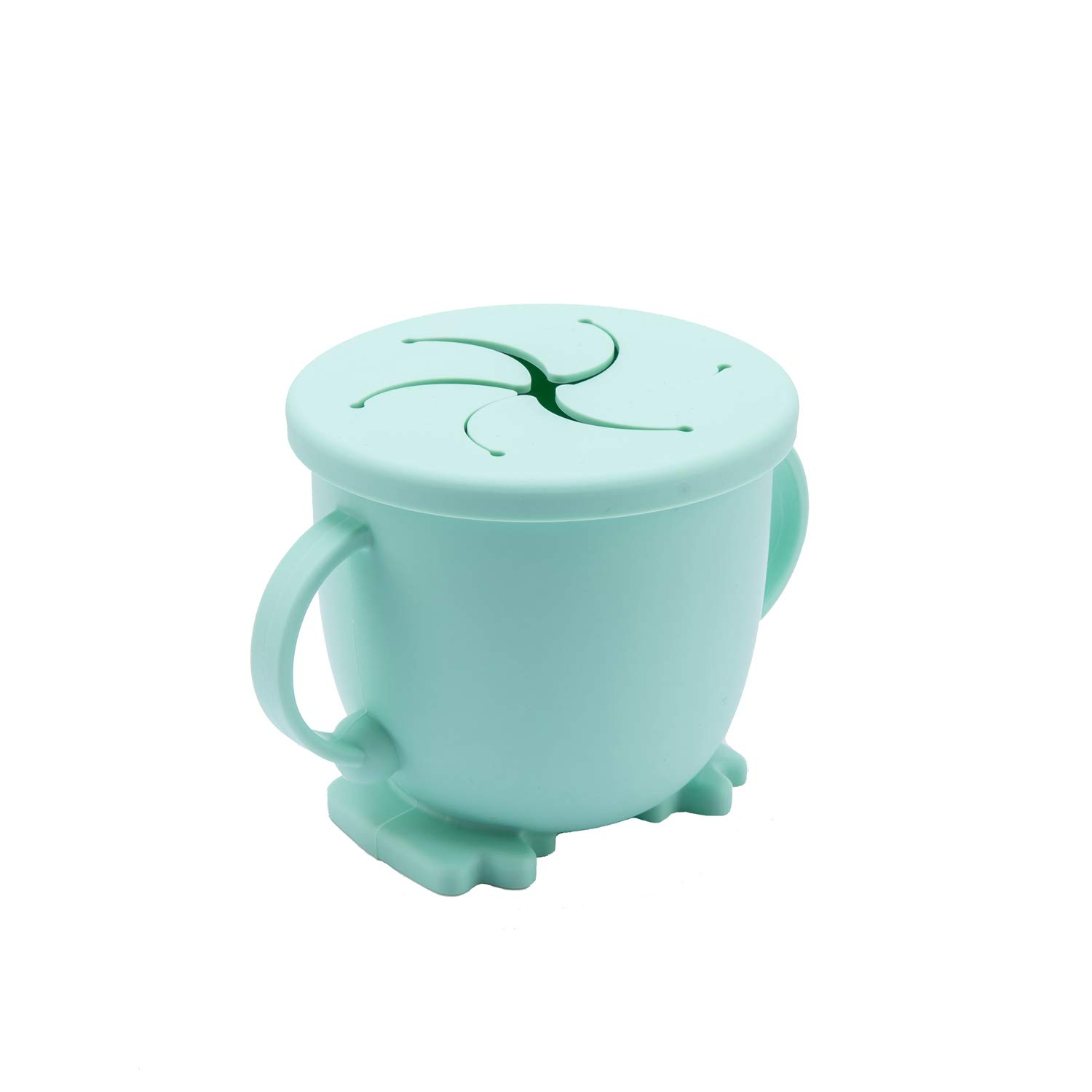 150ML Silicone Snack Cup with Travel Lid & Handles BPA Free Reusable Toddler Food Container Sensory Infant Snack Catcher Easy to Clean (Mint)