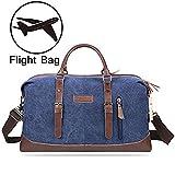 PRASACCO Duffel Bag 45L Canvas Weekender Bag Unisex Gym Bag Carry on Travel Tote for Women Men - Blue