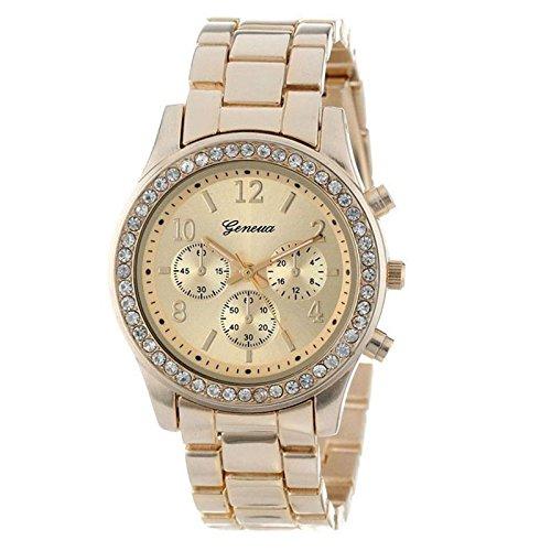 Gold Watch Women Luxury Brand Hot Geneva Ladies Wristwatches Gifts for Girl Full Stainless Steel Rhinestone Quartz Watch (Gold) ()