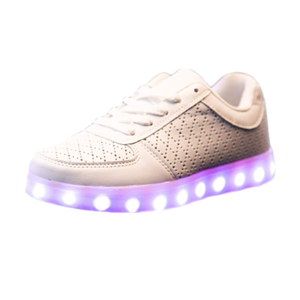 Men's Shoes HOSOME Men Couple Casual Shoes USB Charging Sports Radiant Shoes Colorful LED Lights Shoes Gift for Boyfriend White