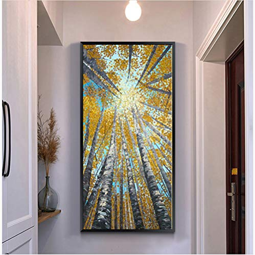 5D Diamond Painting by Number Kits,Large Size,Full Drill,Yolaga DIY Rhinestone Embroidery Yellow Leaves Mosaic Art Cross Stitch Craft for Home Wall Decor,Square Drill,60x180cm