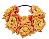 Love Sweety Red Rose Floral Crown Flower Headband for Wedding Festival (Orange)