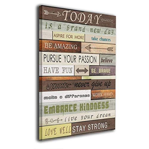 Logo Wall Decor - Art-logo Today Is A Brand New Day Canvas Print Inspirational Quotes Wall Art Painting For Home Decor Vintage Picture Giclee Artwork Decoration Wood Grain Looking Textual Gallery-Wrapped 16