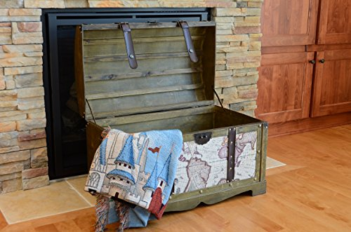 Victorian Ancient World Map Wooden Trunk Wood Treasure Chest - Medium by Styled Shopping (Image #2)