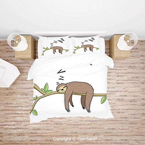 (FashSam Luxury 4 Pieces Duvet Cover Bedding Set Arboreal Mammal Sleeping on Branch in Forest Lazy Mood Resting Relaxing Theme Decorative for Family(Queen))