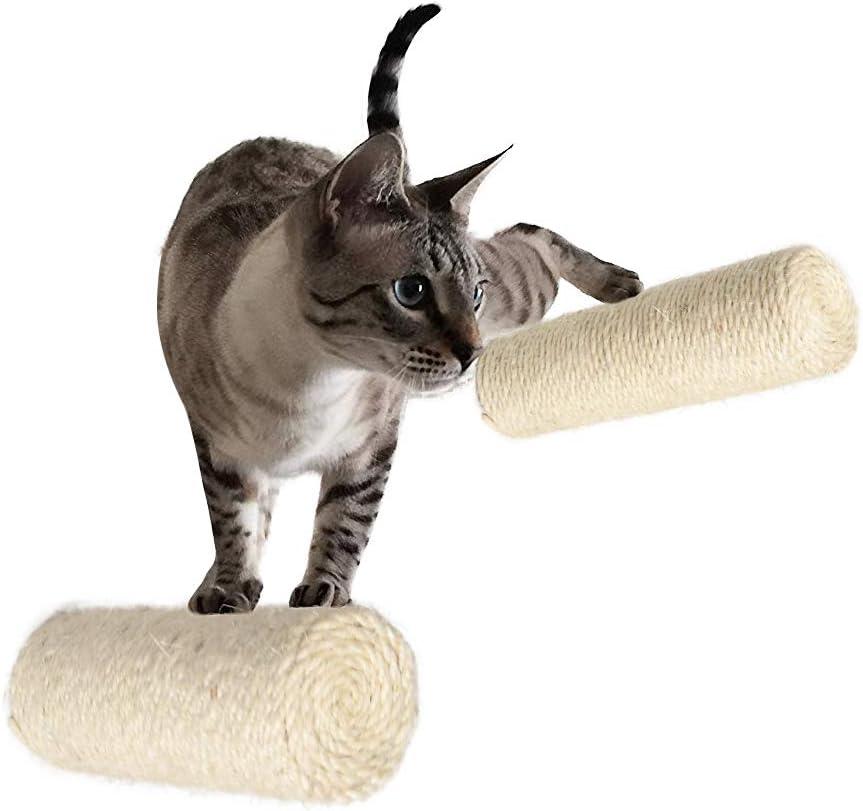 MOUHIV 2Pc Rascador de sisal, Scratcher montado en la Pared, Escaleras de Gato, Pasos de Escalada del Gatito, Escalera de estantería de Gatito, Compatible con Árbol de Gato, Hecho a Mano, Blanco 30cm
