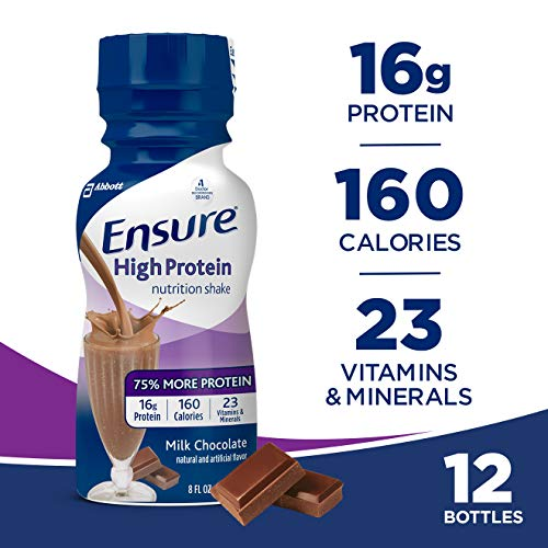 - Ensure High Protein Nutrition Shake with 16 grams of high-quality protein, Meal Replacement Shakes, Low Fat, Milk Chocolate, 8 fl oz, 12 count