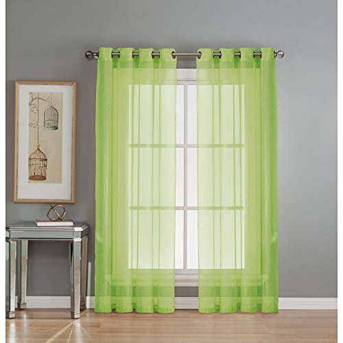 Window Elements Diamond Sheer Voile Extra Wide 56 x 84 in. Grommet Curtain Panel, Lime (Lime Panels Drapery Green)