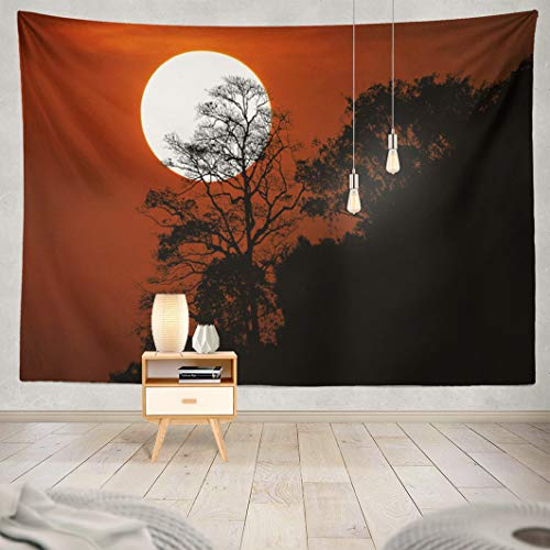 Alricc Mountain Sunset Tapestry,AlriccTapestry Wall Tapestry Halloween with Silhouette Trees Mountain Spooky Sunset Sky Wall Hanging Tapeatry for LivingRoom Bedroom Decor 80