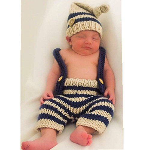0f20af7be26 Amazon.com  Eyourhappy Baby Newborn Handmade Crochet Knitted Photography  Props Boy Stripe Hat Pants Overalls  Baby