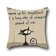 Oshiley Black Cat Funny 100% Cotton Retro Home Decor Design Throw Pillow Cover Case For Sofa Decorative ( 20*20 )