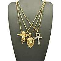 "Gold Tone Micro Egyptian Ankh Cross, Lion Head, Baby Angel Pendant 24"" Ball Chain 3 Necklace Set"