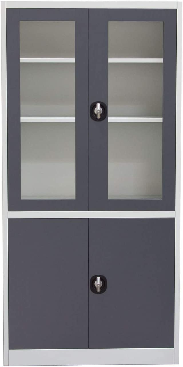 Diamond Sofa Home Furniture 4-Door 5-Shelf Bookcase With Tempered Glass Door Front & Key Lock Entry