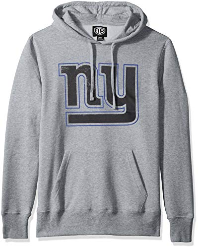 NFL New York Giants Male OTS Bravo Fleece Hoodie Distressed, Slate Grey, Medium