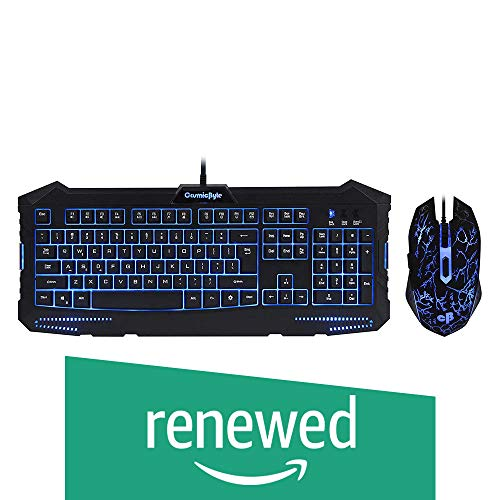 (Renewed) Cosmic Byte Dark Matter Gaming Keyboard and Mouse Combo, 3 Color LED Backlight, Upto 2400 DPI 5 Button LED Mouse (Black)