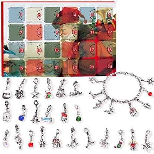 [해외]어드밴트 캘린더 DIY 팔찌 목걸이 세트 24개 참 패션 주얼리 카운트다운 크리스마스 테마 아동용 선물 / Manaror Advent Calendar,DIY Bracelet Necklace Set24 Charms Fashion Jewelry Countdown Christmas Theme Gifts for Kids