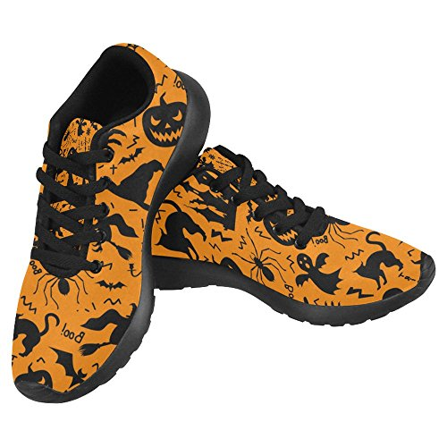 InterestPrint Women's Jogging Running Sneaker Lightweight Walking Casual Comfort Running Shoes Size 8 Halloween with Pumpkin, Castle, Skull, Ghost, Tree, Cat, Zombie Hand, Hat and Spider ()