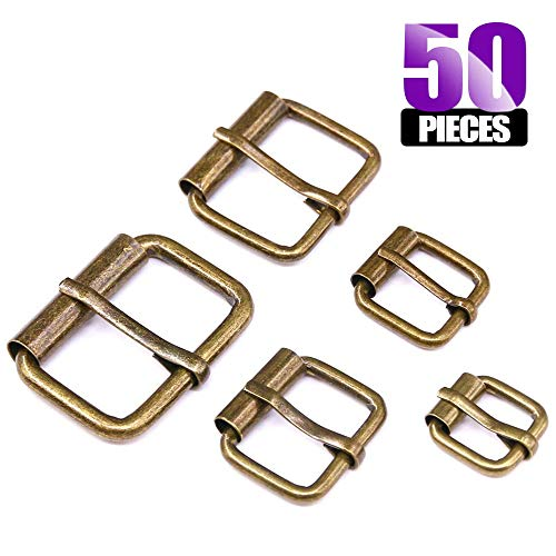 Swpeet 50 Pcs Bronze Assorted Multi-Purpose Metal Roller Buckles for Belts Hardware Bags Ring Hand DIY Accessories - 1/2 inch, 5/8 inch, 3/4 inch, 1 inch, 1-1/4 inch