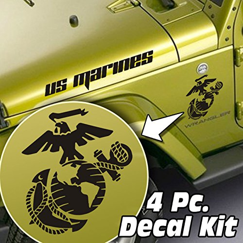 Jeepazoid - Jeep Wrangler 4 piece Decal Kit - US Marines Globe & Anchor - Black Stickers (Jeep Wrangler 4 Piece)