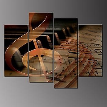 Amazon.com: 4 Panels Wall Art Musical Staff Melody Piano ...