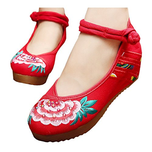 39 National Thin Shoes red Embroidered Style Beijing Old Shoes Cloth twvzpYR