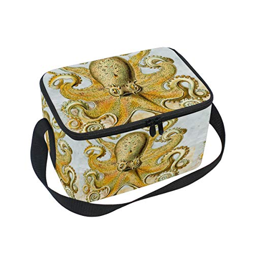 Unisex Lunch Bag Octopus Canvas Zipper Lunch Tote Boxes Cooler warm Pouch For Travel Picnic School Office